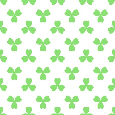 Green clover with three leaves. St Patricks Day seamless pattern. Vector tileable design element. Saint Patrick used three-leafed clover to teach the Trinity