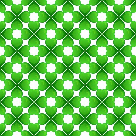 Green clover with four leaves. St Patricks Day seamless pattern. Vector tileable design element. Illustration