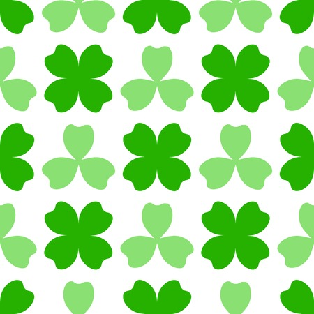 Green clover with three and four leaves. St Patricks Day seamless pattern. Vector tileable design element. Saint Patrick used three-leafed clover to teach the Trinity