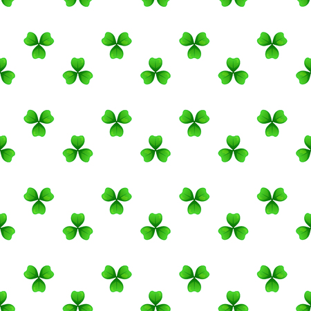 Shamrock, green clover with three leaves. St Patricks Day seamless pattern.