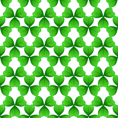 seamless clover: Shamrock, green clover with three leaves. St Patricks Day seamless pattern.