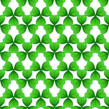 patron saint of ireland: Shamrock, green clover with three leaves. St Patricks Day seamless pattern.