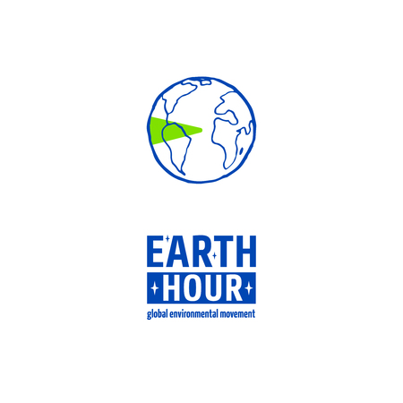 pm: Earth Hour is a Global Environmental Movement. Vector icon with text, isolated on white. Concept of energy saving and changing climate change. Planet Earth illustration