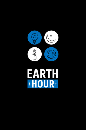 day light: Earth Hour Movement. Vector illustration, template for banner, poster or card. Text and four icons of light bulb, star with crescent, candle and globe. Black, white and blue color