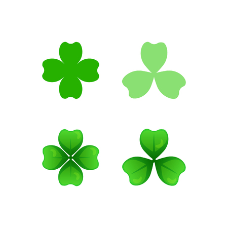 Green clover sprigs icons with three and four leaves. St Patricks Day clip-art. Vector cartoon and flat style design element, isolated on white. Saint Patrick used three-leafed clover to teach Trinity