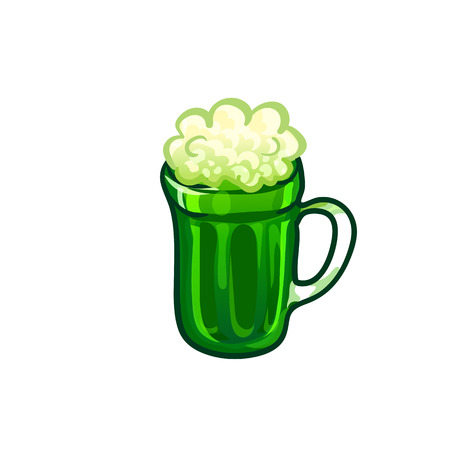 Green beer mug, sketchy illustration. Happy St Patricks Day. Vector design element, hand drawn clip art isolated on white