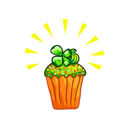 paddys: Green cupcake and four leaf clover sprig on top, sketchy illustration. Happy St Patricks Day. Vector design element, hand drawn cake clipart isolated on white, colors of Irish national flag