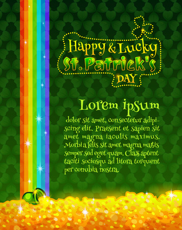 Happy and Lucky St Patricks Day greeting card or poster template. Vector design element. Green pot with gold coins, treasure of leprechauns at the end of the rainbow.