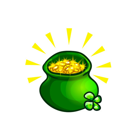 Green pot with gold coins, treasure of leprechauns, and four leaf clover sprig. Vector design element, hand drawn clip art isolated on white