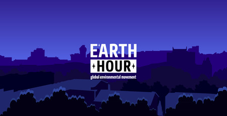 pm: Earth Hour Movement Illustration. Horizontal wide banner of dark city view. Vector template for card or poster. The aim of the company is to prevent climate change and protect the planet