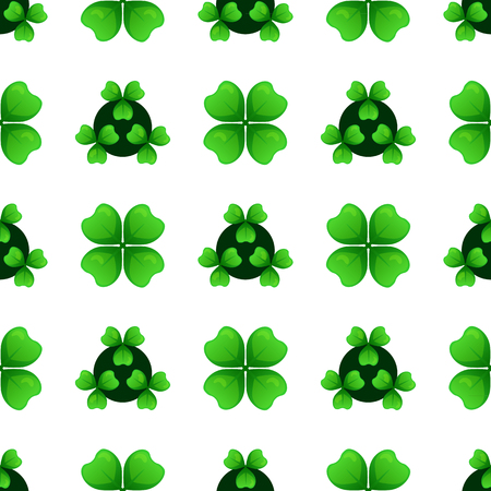 Green clover sprigs with four leaves and three-leafed shamrock. Plants against dark circles. St Patricks Day geometry seamless pattern. Vector tileable design element.