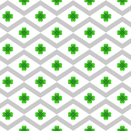 st  patrick's day: Green clover with four leaves. Sprig against white rhombus. St Patricks Day geometry seamless pattern. Vector tileable design element.