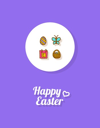 Happy Easter. Greeting card or banner template with hand drawn egg icon, butterfly, calender page and Easter busket with painted eggs. Purple background Illustration