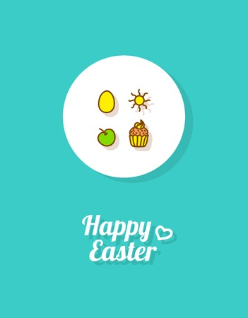 Happy Easter. Greeting card or banner template with hand drawn golden egg icon, the Sun, apple and Easter cake. Bright celestial blue background