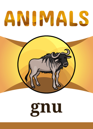 Printable animal flash card, vector illustration. Suitable for teaching children new words. Wildebeest or gnu antelope, lives in African savannah. Cartoon style Illustration