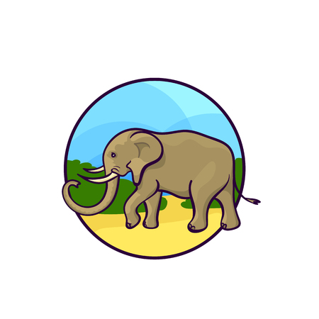 Animal art, cute cartoon style, hand drawn vector illustration. African elephant, cartoon style