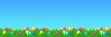 Easter wide seamless border. Background with bright green grass and painted eggs. Egg hunt landscape