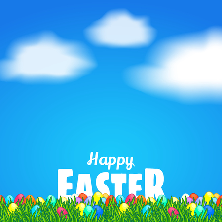 paysage: Happy Easter. Greeting card template. White text behind bright green grass. Vector cartoon illustration. Background with painted Easter eggs, clouds and blue sky.