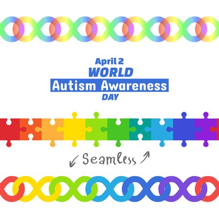 abilities: World Autism Awareness Day, April 2, 2017. Set of design elements. Seamless borders puzzle pieces and infinity symbol Rainbow color means diversity of autism spectrum. Vector isolated on white