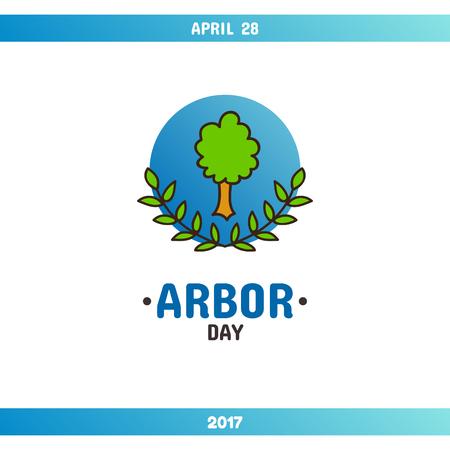 植樹の日、カードをベクトルまたはバナーのテンプレート。