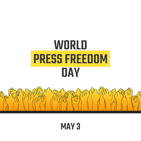 World press freedom day, May 3. Vector hand drawn illustration. Crowd of people with their arms raised, voting for free information. Isolated on white