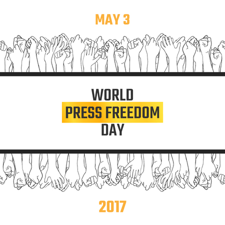 World press freedom day, May 3. Vector hand drawn illustration. Crowd of people with their arms raised, voting for free information. Double border, web banner template. Black, gold and white colors