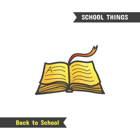 Back to School Supplies, vector hand drawn icon, isolated on white, cartoon style. Open book with golden pages and red ribbon bookmark, symbolizing the value of knowledge and education