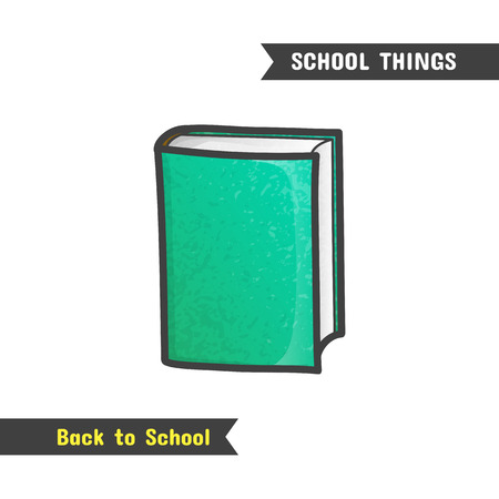 literature: Back to School Supplies, vector hand drawn book icon, isolated on white, cartoon style. Textbook with green cover Illustration