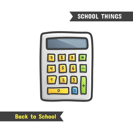 다시 학교 용품, 벡터 손으로 그린 아이콘, 흰색, 만화 스타일을 격리합니다. 휴대용 전자 계산기