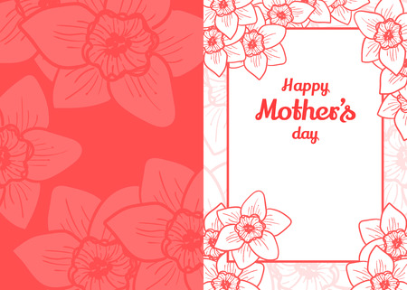 reverse: Happy Mothers Day. Greeting card with pink delicate narcissus flowers forming a frame for the text.