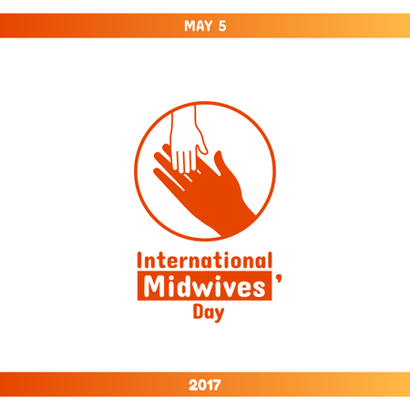 International Midwives Day, May 5. Vector design element. Hand of child lying on womans hand. Symbol of midwive and newborn baby. Greeting card or banner template