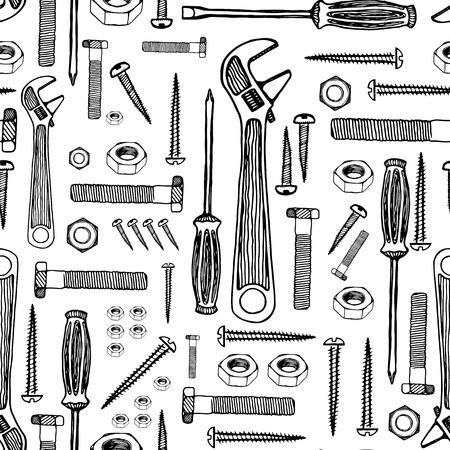 Modèle sans couture d'outils de construction. Illustration rétro dessinés à la main, stylo et encre. Fond mosaïque de vecteur, contour noir isolé sur blanc