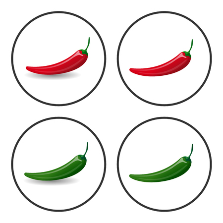 Hot Chili peppers, vector icons, 4 versions, with and without shadow, isolated on white. Cartoon red and green fresh peppers. Bright design element for cafe menu. Illustration