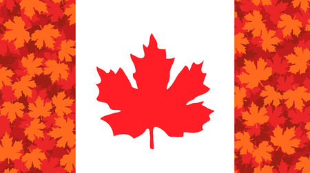 Vector hand drawn illustration, Canada flag. Side red fields filled with red maple leaves pattern. Canada Victoria Day, May 22.