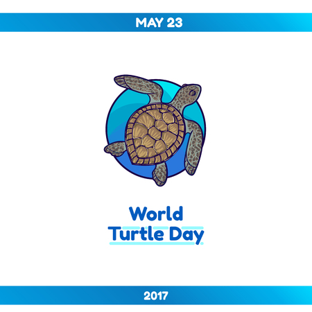 World Turtle Day, May 23. Sea turtle in a blue circle. Vector hand drawn illustration, isolated on white