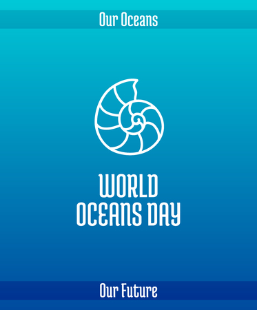 World Oceans Day, June 8. Promoting card with hand drawn doodle, vector line illustration.