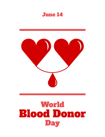 World Blood Donor Day, June 14. Two hearts, with a drop of blood between them, symbolizes the donor and the recipient. Vector illustration