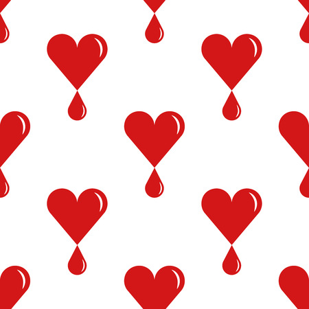 World Blood Donor Day, tileable background. Heart with a drop of blood, symbolizes donation and charity. Vector seamless pattern.