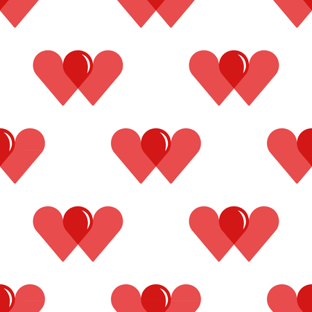 World Blood Donor Day, tileable background. Two overlapping hearts forming a drop of blood symbolize blood donation and charity. Vector seamless pattern. Vektorové ilustrace