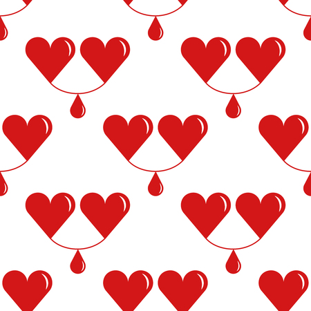 donation drive: World Blood Donor Day, tileable background. Two hearts, with a drop of blood between them, symbolizes the donor and the recipient. Seamless pattern.