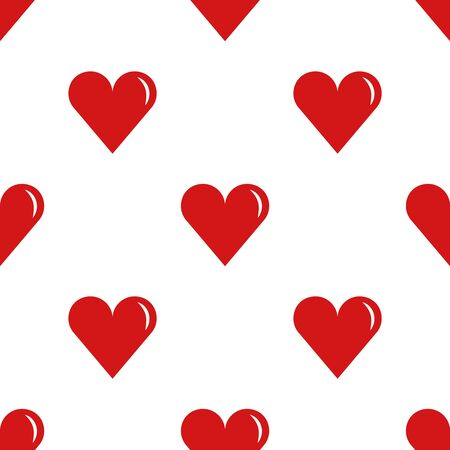 Heart shapes, a symbol of love and romance. Vector seamless pattern. Red color, isolated on white.