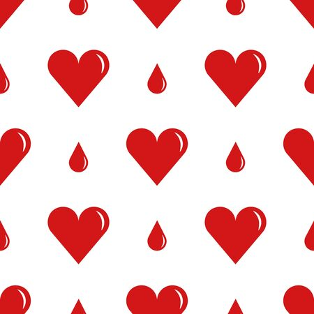 hemophilia: World Blood Donor Day, tileable background. Heart with a drop of blood, symbolizes donation and charity. Vector seamless pattern.