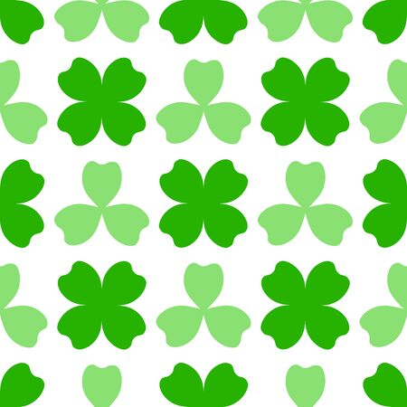 leafed: Green clover with three and four leaves. St Patricks Day seamless pattern. tileable design element. Saint Patrick used three-leafed clover to teach the Trinity