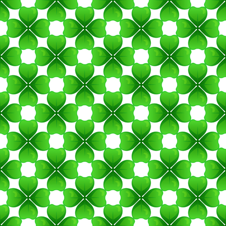 Green clover with four leaves. St Patricks Day seamless pattern. tileable design element.