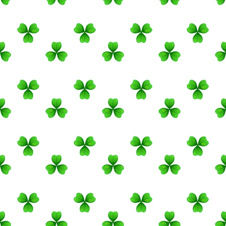 Shamrock, green clover with three leaves. St Patricks Day seamless pattern. Vector tileable design element. Saint Patrick used sprig of three-leafed young clover to teach Holy Trinity