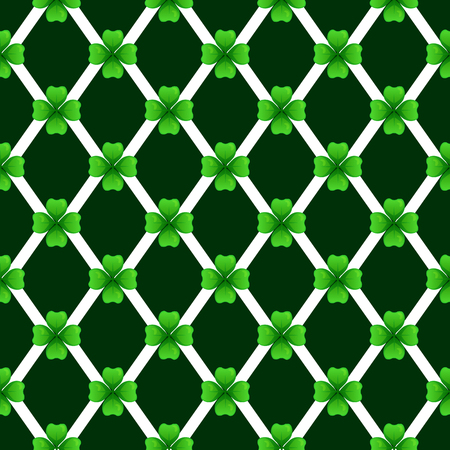 Green clover with four leaves. Sprig against dark rhombus. St Patricks Day geometry seamless pattern. tileable design element.
