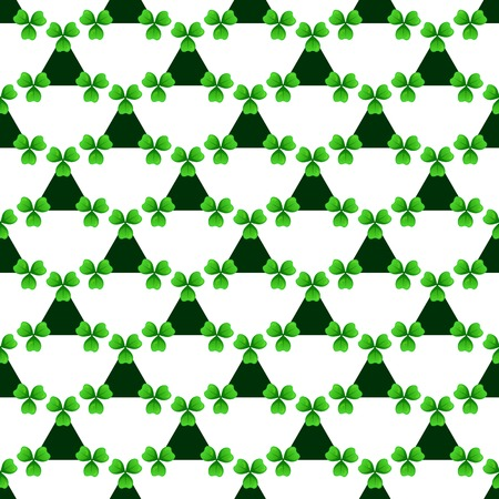 celtic: Shamrock, green lucky clover with three leaves. Sprig against dark triangle on white. St Patricks Day geometry seamless pattern. tileable design element.