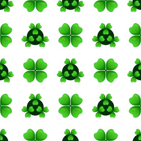 leafed: Green clover sprigs with four leaves and three-leafed shamrock. Plants against dark circles. St Patricks Day geometry seamless pattern. tileable design element. Stock Photo