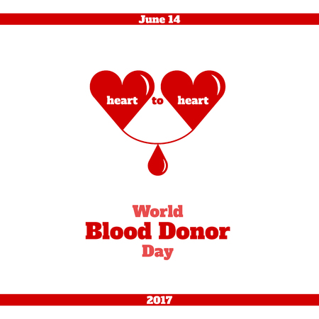 donation drive: World Blood Donor Day, June 14. Vector illustration. Two hearts, with a drop of blood between them, symbolizes the donor and the recipient