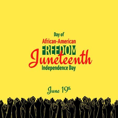 Juneteenth, 아프리카 계 미국 독립 기념일, 6 월 19 일. 자유와 해방의 날. 원활한 테두리가 노란색 배너 축 하하는 사람들의 손을 제기